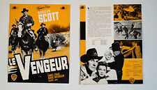 WESTERN - LE VENGEUR - 1957 - SCOTT - CRAIG - DICKINSON - DOSSIER DE PRESSE