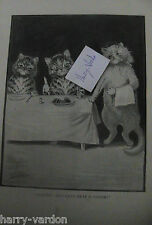 Louis Wain Artist Illustrator Cats Cat Rare Old Victorian Antique Print 1895