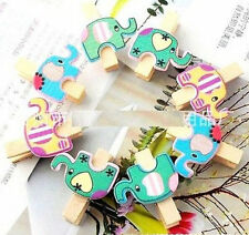 Cute Elephants Wood Lined Clothes Clip Pins Wooden Photo Clips ~8PCs ☆