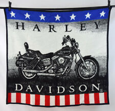 Vtg HARLEY DAVIDSON MOTORCYCLE Biederlack Afghan Throw Blanket US Flag Fleece
