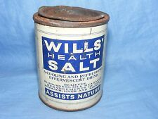 Vintage Old Advertising Tin Boots Wills Health Salt Chemist Medical Tin Full