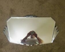 Antique Art Deco Beveled Wall Mirror Starburst Chrome Frame Venetian Mirror