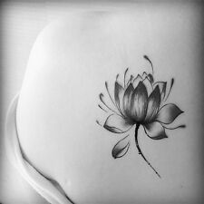 Black Lotus Flower Tattoo Stickers Temporary Waterproof Floral Body Art Tattoo T