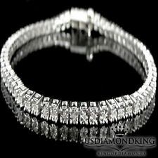 "1 Row White Gold Finish Genuine Round Diamond Tennis Bracelet 8.25"" Mens Ladies"