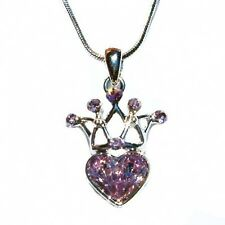 Lilac w Swarovski Crystal Bridesamid CROWN Love HEART charm Pendant Necklace NEW
