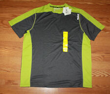 NWT Mens REEBOK Dark Gray Lime Green Accent Crew Neck Hydromove S/S T-Shirt M