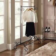 Shabby Chic Black Clothes Garment Rail Metal Ornate Vintage Style Hanging Stand