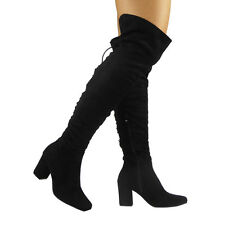 WOMENS LADIES THIGH HIGH OVER THE KNEE BOOTS LONG FAUX SUEDE LACE UP SHOES SIZE