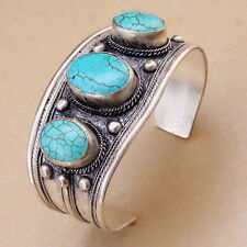 Unisex Vintage Oval Turquoise Stone Bead Cuff Bracelet Bangle Tibet Silver