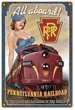 Reproduction RPR All Aboard Pin Up Girl Railroad Sign