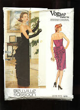 Vogue #1275 Misses EveningDress sz10 BELLVILLE SASSOON American Designer ©1980s
