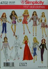 """Simplicity 4702 DOLL CLOTHES Sewing PATTERN for 11-1/2"""" BARBIE DOLL Wardrobe NEW"""