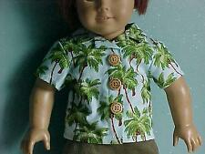 BLOUSE/SHIRT fits American Girl-TROPICAL PALM TREES, WOOD BUTTONS - Made in USA!