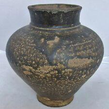"7.1"" YUAN Dynasty? Antique Chinese Temmoku Green / Brown Glazed Earthenware Vase"