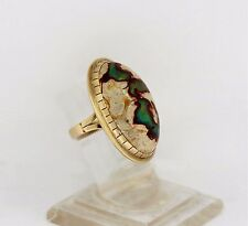 Vintage 14k Yellow Gold Natural Fire Opal Cabochon Ring