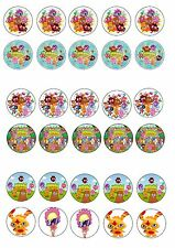 MUSHI MONSTERS EDIBLE RICE WAFER PAPER CUP CAKE TOPPER X30