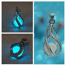 Mujer Moda Collar Colgante Piedra Lágrima Sirenita Luces del resplandor Necklace