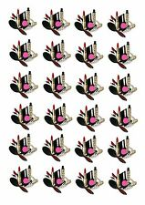 24 PRECUT MAKE UP PACK  STAND UP EDIBLE CUPCAKE FAIRY CAKE TOPPERS  BEAUTICIAN