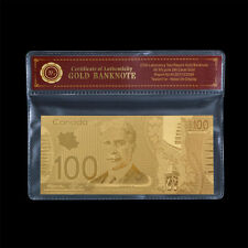 WR Canada $100 One Hundred Dollars Banknote Plated Gold Uncirculated /w Free COA