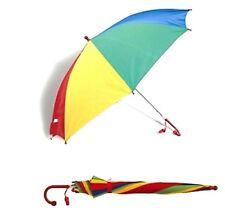 Kids Childrens Umbrella + Whistle Bright Rain Brolly Rainbow Umbrella Kids Gift