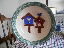 "Birdhouses Serving Vegetable Bowl Gibson Stoneware 9"" Red Navy Blue White !"
