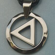 sporty round facet & triangle scratch proof  tungsten pendant necklace 10.5g