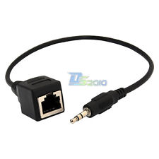 """3.5mm 1/8"""" male Plug AUX Audio Cable to RJ45 socket Ethernet Adapter short Cable"""