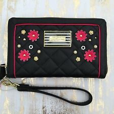 Betsey Johnson Oversized wallet black pink quilted 3D Flowers Daisy ziparound