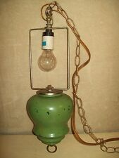 Vintage~Green~Hanging Light~Lamp~Working~Retro~60s~70s~