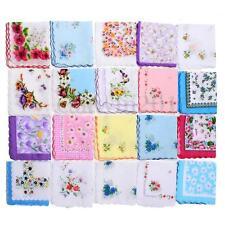 20Pcs Women Ladies Kids Vintage Floral Flowers Handkerchief Lady Cotton Hanky