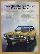 1972 Toyota Mark II 2-door hardtop gold car photo vintage print Ad