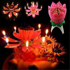 Musical Party Birthday Lotus Blossom Magic Flower Candle Cake Topper Gifts