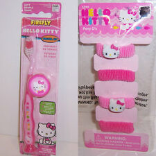 CHILDS HELLO KITTY Suction Cup Soft TOOTHBRUSH w/Cap Travel Kit & HAIR TIES NEW!