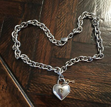 VINTAGE TIFFANY & Co.  STERLING SILVER HEART LOCK & KEY NECKLACE WITH POUCH