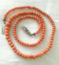 Antique Victorian Salmon Coral Necklace 835 Silver Clasp Hand Carved Beads!