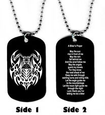 DOG TAG NECKLACE - A Biker's Prayer Motorcycle Jesus God Religious Christian