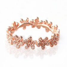 Rose Gold Ring Solid Sterling Silver Dazzling Daisy Flowers Stacking 7.5 / 56