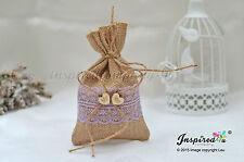 Bespoke 25 x Hessian Favor Bags Wooden Mr Mrs Heart Wedding Lavender Lace