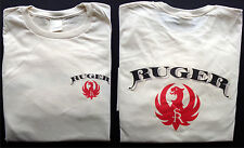 T-shirt Ruger fire arms vintage logo 100% cotton natural size large