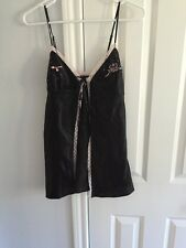 Victoria's Secret Size XS babydoll  Tie Front Sequence With Pink Lace New Slip