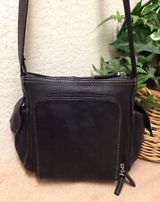 Fossil VIntage Black Leather Nylon Trim Organizer Shoulder Handbag Bag Small