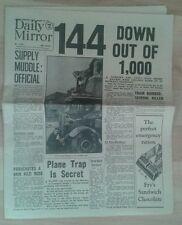 Daily Mirror NEWSPAPER-WW2- Aug 16th 1940- 144 Enemy raiders down out of 1000.
