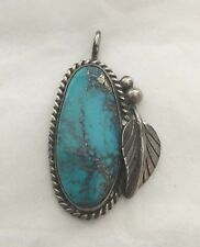 Old Pawn Native American Navajo Indian Morenci Turquoise Sterling Silver Pendant