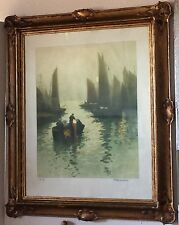Antique Fernand Le Gout-Gerard Aquatint Dutch Harbor + Art Nouveau Gilt Frame