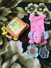Bright Starts Pink Elephant Soft Baby Activity Toy + Cloth Learning Book