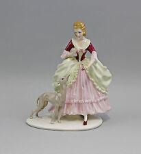 Porzellan Figur Ens Thüringen Rokoko-Dame mit Windhund 9941799