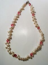 Vintage White Freshwater Pearl Choker Necklace With Pink Faceted Beads - Youth