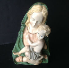 VTG Madonna W/Christ Child Bust Statue Handpainted Resin Figurine Made in Italy