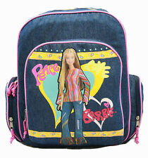 """Pink & Blue Denim """"Peace"""" Small 12"""" BARBIE BACKPACK School Bag Travel Tote NEW!"""