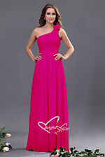 Bridesmaid One Shoulder with Flower Wedding Evening Party Prom Dress size 8 - 24